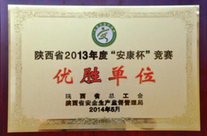 2013年度陕西省安康杯竞赛优胜单位
